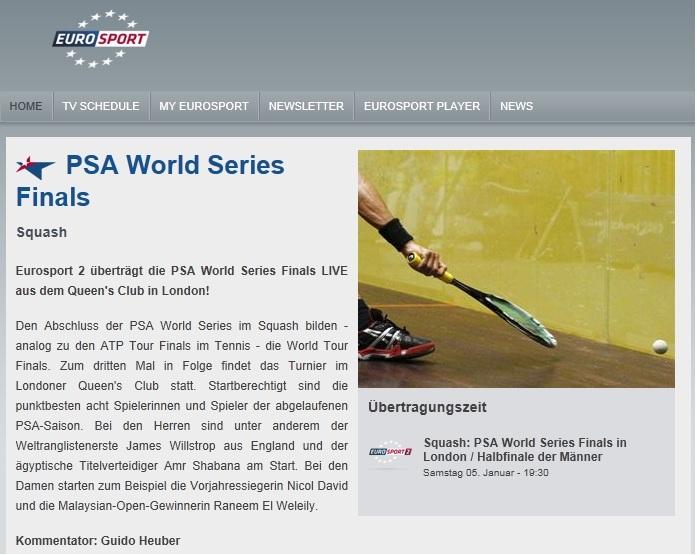 Live Squash wieder im deutschen Fernsehen zu sehen!